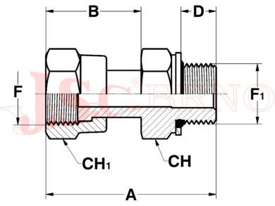 """A502180-1221 (13/16-16ORFS - 1/2""""BSP)"""