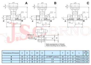 """EMIL 01B kohout manometrický 5l/min, 350bar (2x vnitřní rovné čelo G1/4"""")"""