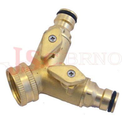 """SB3030 Rozdvojka s ventily pro 2 rychlospojky (vnitřní závit 3/4"""")"""