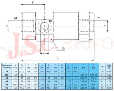 """VBPS01 jednosměrný ventil řízený 15l/min, 320bar, (G1/4"""")"""