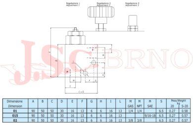 """VMD20 01 B1 pojistný ventil 20l/min, 10-200bar (G1/4"""")"""