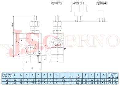 """VMD35 02 B1 pojistný ventil 35l/min, 040-210bar (G3/8"""")"""