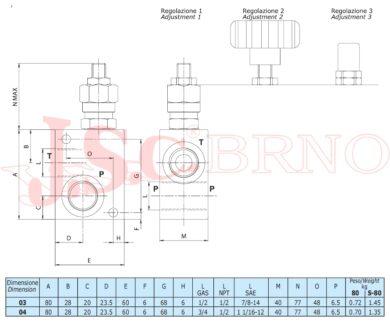 """VMD80 04 B1 pojistný ventil 80l/min, 20-260bar (G3/4"""")"""