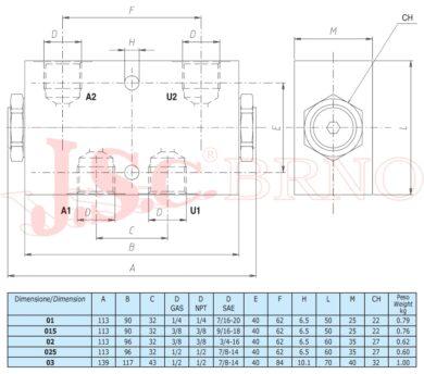 """VPDE02 hydraulický zámek 40l/min, max.tlak 350bar (G3/8"""")"""