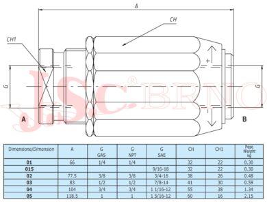 """VRB03 škrtící ventil obousměrný 45l/min, 350bar, (G1/2"""")"""