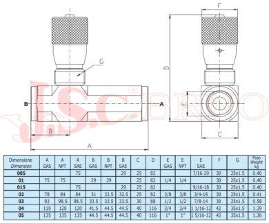 """VRFU9002 škrtící ventil jednosměrný, 350bar, (G3/8"""")"""