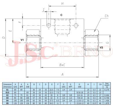 """VU/SF03 logický člen 80l/min, 500bar (G1/2"""")"""