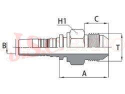 D-AGJ bezořezová koncovka s vnějším UNF-JIC závitem, kužel 37°
