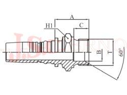 D-AGR bezořezová koncovka s vnějším palcovým závitem, kužel 60°