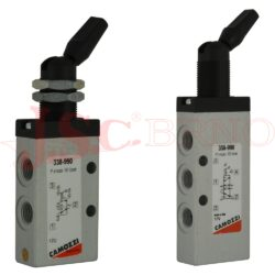 "3x8-990 ruční ventil, aretovaná páčka, G1/8"" (-0,9 až 10bar 700Nl/min)"