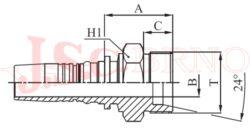 D-CES bezořezová koncovka s vnějším metrickým závitem, kužel 24°, těžká řada