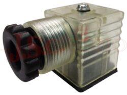 CON32xxx00 konektor čtvercový s LED+VDR, typ A/30mm DIN 43650