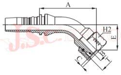 D-DKOS45 bezořezová koncovka úhlová s převlečnou maticí, kužel 24°, těžká řada