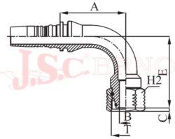 D-DKOS90 bezořezová koncovka úhlová s převlečnou maticí, kužel 24°, těžká řada