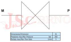 """EM90 01B kohout manometrický 90° 5l/min, 350bar (2x vnitřní rovné čelo G1/4"""")"""