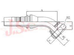 D-ORFS45 bezořezová koncovka úhlová, převlečná matice, UNF závit, rovné čelo