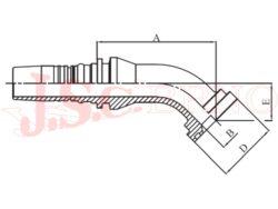 D-SFL45 bezořezová koncovka úhlová (45°) přírubová, 3000PSI, lehká řada