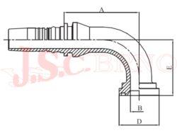 D-SFL90 bezořezová koncovka úhlová (90°) přírubová, 3000PSI, lehká řada