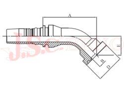 D-SFS45 bezořezová koncovka úhlová (45°) přírubová, 6000PSI, těžká řada