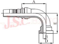 D-SFS90 bezořezová koncovka úhlová (90°) přírubová, 6000PSI, těžká řada